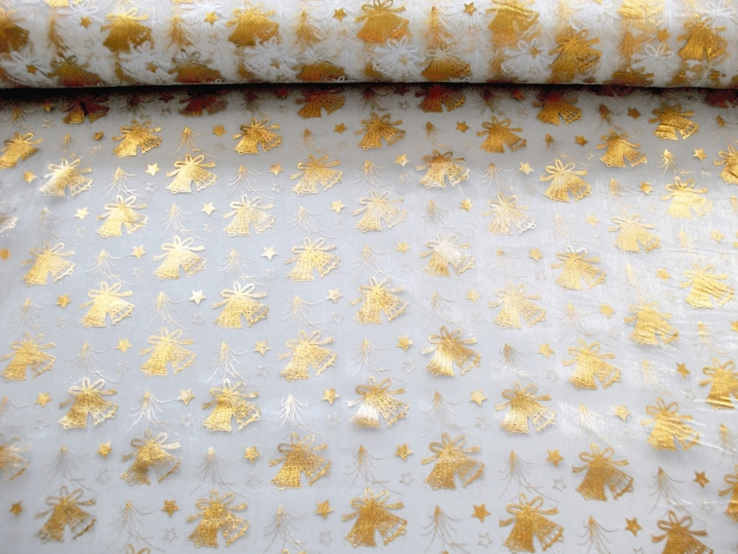 Weihnachtsorganza L8113-215 weiß mit goldenen Weihnachtsglöckchen