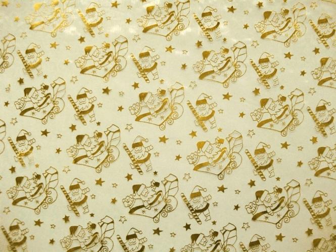 Weihnachtsorganza L8114 in creme mit Nikoläusen gold