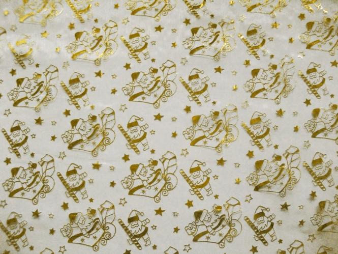 Weihnachtsorganza L8115 in weiß mit Nikoläusen gold