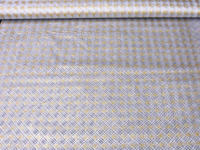 Weihnachtsorganza RS0127-005 in weiß mit Rauten in Goldglitter