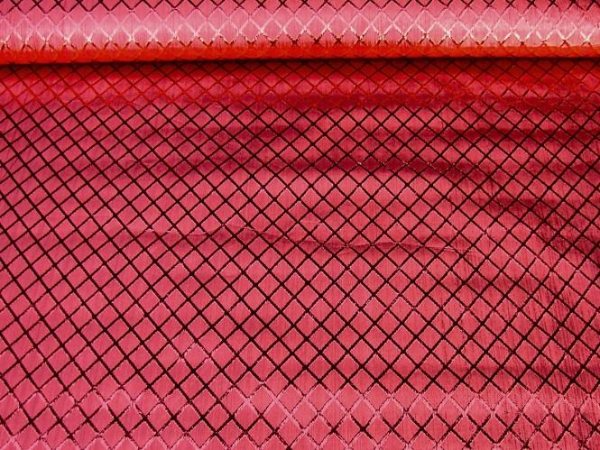 Jacquardstoff CA1005-005 rubinrot mit Rautenmuster