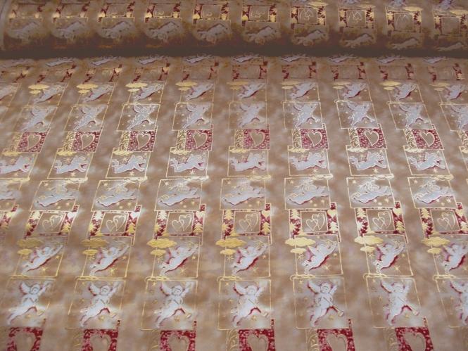 Weihnachtsdekostoff L8113-107 goldbraun-gold mit Engelchen
