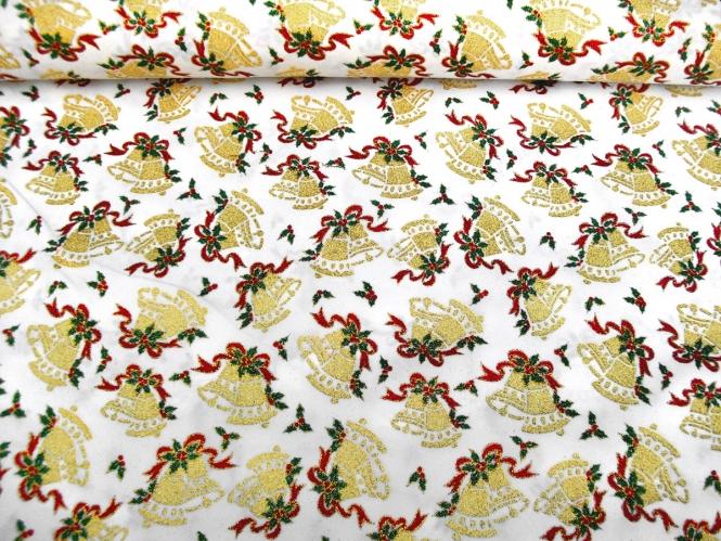 Weihnachtsdekostoff L8113-110 weiß mit Weihnachtsglöckchen