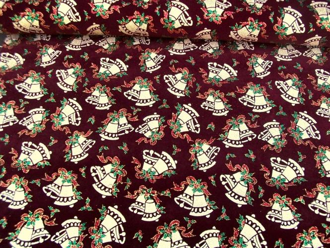 Weihnachtsdekostoff L8113-112 bordeaux mit Weihnachtsglöckchen