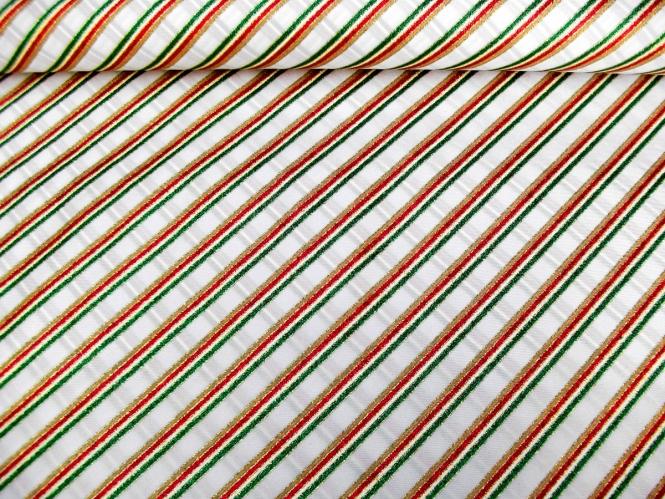 Weihnachtsdekostoff L8113-124 weiß mit Glitterstreifen diagonal