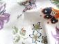 Baumwollstoff 99-022-AL in weiß - bestickt mit Blumendruck lila - 2