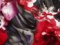 Baumwollstoff Stretch grau 99-02-BVU mit Blumendruck rot-lila - 2