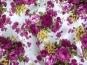 Baumwollstoff Stretch L12000-001 in weiß mit Rosendruck violett - 2
