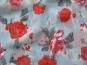 Chiffon L12207-1 in pastellblau mit Rosendruck rot-violett - 2
