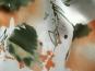Georgette L80401 in weiß mit Blumendruck orange/grün - 2
