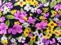 Stoff 28-002-A in schwarz mit Blumendruck in lila-gelb-weiß - 2