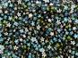 Stoff 28-003-A in schwarz mit Blumendruck in blau-weiß - 2