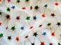 Weihnachtsorganza L8113-203 weiß mit mit bunten Glittersternen - 2