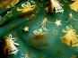 Weihnachtsorganza L8113-211 dunkelgrün mit Weihnachtsglöckchen gold - 2