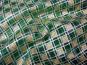 Weihnachtsorganza RS0127-007 in dunkelgrün mit Rauten in Goldglitter - 2