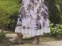 Leinenstoff Isla Sharma HI-K8202/1 weiß - Blumendruck braun/gold - 3